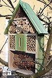 Insektenhotel, KOMPLETT mit Schmetterlingshaus XXL moosgrün grün für...